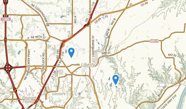 trail locations for Liberty, Missouri
