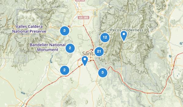 trail locations for Santa Fe, New Mexico
