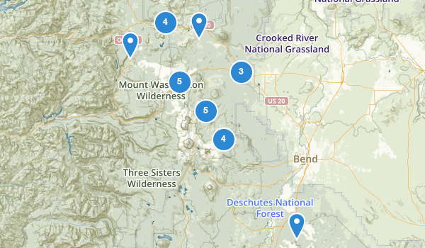 trail locations for Sisters, Oregon