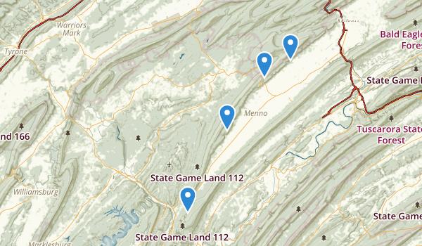 trail locations for Huntingdon, Pennsylvania