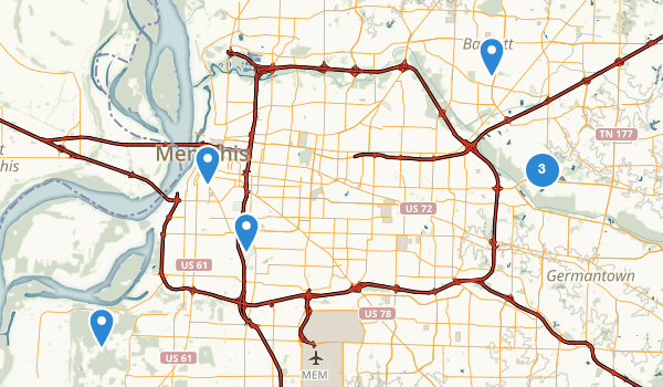 trail locations for Memphis, Tennessee
