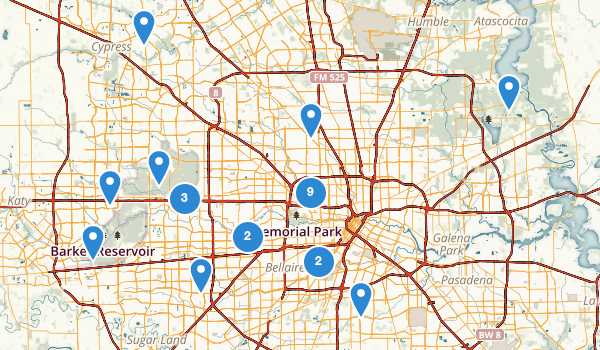 trail locations for Houston, Texas